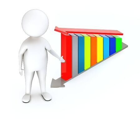3d white guy , standing next to -bar graph and arrow over it - 3d rendering Foto de archivo - 129437312