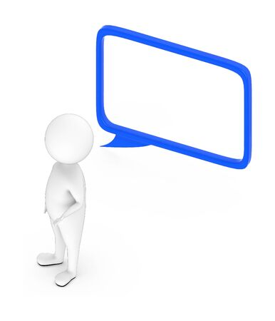 3d white guy , standing next to -hollow speech bubble - 3d rendering
