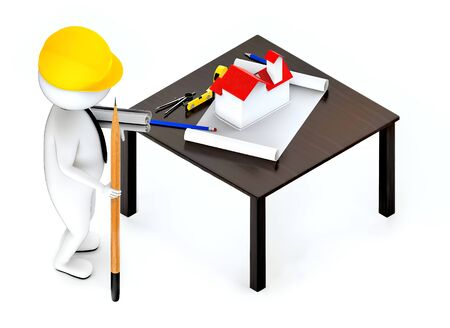 3d white guy , wearing hard helmet holding drafts and a pencil , architect , engineer -table with house draft divider measurement tape - 3d rendering Stock Photo - 129437536