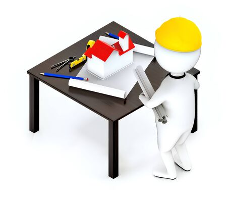 3d white guy , wearing hard helmet holding drafts and a pencil , architect , engineer -table with house draft divider measurement tape - 3d rendering Stock Photo - 129437540
