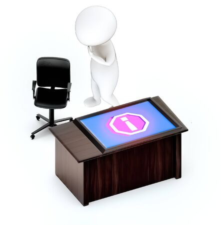 3d white guy , tablet warning error bug , hands on head , worry , stressed -table with laptop rotating chair - 3d rendering Imagens