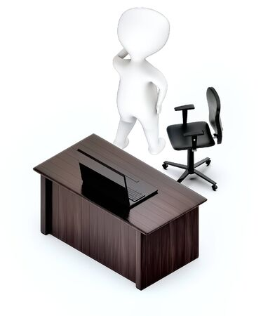 3d white guy , hands on head , worry , stressed -table with laptop rotating chair - stress office 3d rendering