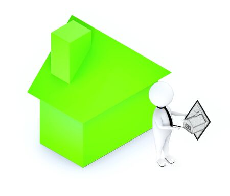 3d white guy , neck tie holding a tablet and a pen -green color house , realtor concept - 3d rendering