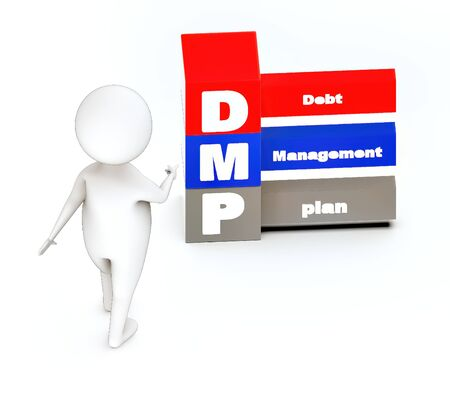 3d white guy , walk and pointing -debt management plan concept - 3d rendering