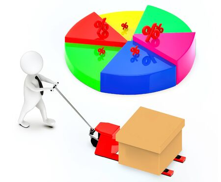 3d white guy , moving a pallet , unloader truck -pie chart percentage sign - 3d rendering