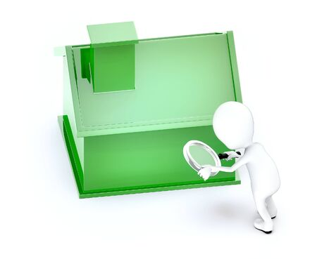 3d white guy , hold magnifier and examine -green color house - 3d rendering