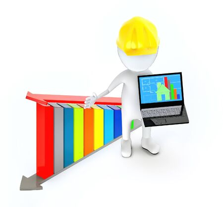 3d white guy , wearing a safety helmet and holding a laptop -bar graph and arrow over it - 3d rendering