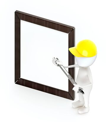 3d white guy , wear safety helmet and hold wrench -Wooden empty frame - 3d rendering Stockfoto