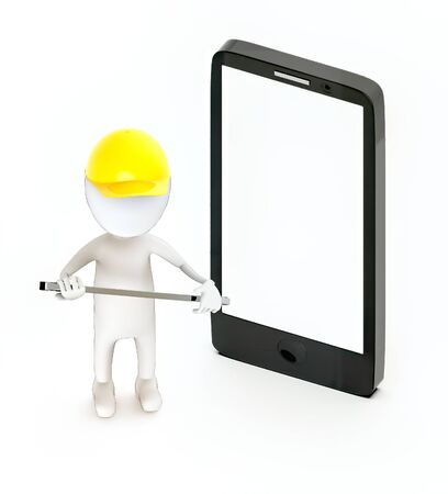 3d white guy , wear safety helmet and hold wrench -mobile phone - 3d rendering Stockfoto
