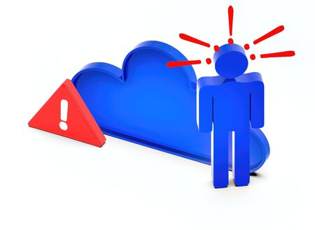 3d people sign and exclamation marks over it-cloud - 3d rendering