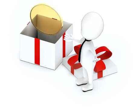 3d white guy , hands widened -gold coin inside a gift box - 3d rendering