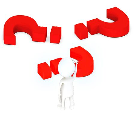 3d white guy , stand and scraching head -question mark lying on ground - 3d rendering