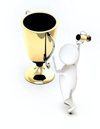 trophy gold - 3d rendering Stock Photo