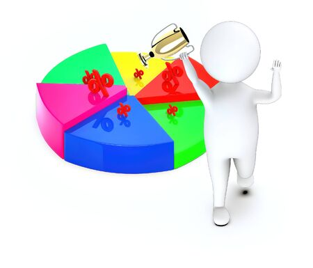 3d white guy , walk with holding golden trophy -pie chart percentage sign - 3d rendering Stock Photo