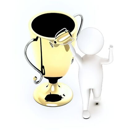 3d white guy , walk with holding golden trophy -trophy gold - 3d rendering Stock Photo