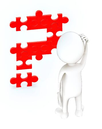 3d white guy , stand and scraching head -question mark jigsaw - 3d rendering