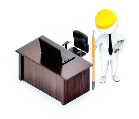3d white guy , wearing hard helmet holding drafts and a pencil , architect , engineer -table with laptop rotating chair - 3d rendering