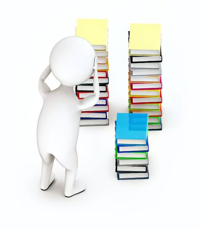 3d white guy , hands on head stressed worry -stack of file folders - 3d rendering Stockfoto