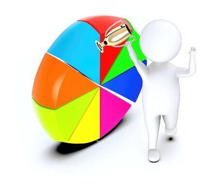 3d white guy , walk with holding golden trophy -pie chart vertical stand on ground - 3d rendering