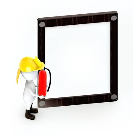 3d white guy , fire fighter with fire extiguisher -Wooden empty frame - 3d rendering