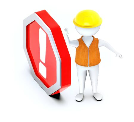 3d white guy, wear hard helmet and showing stop gesture-exclamation sign in hexagonal board - 3d rendering