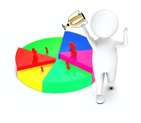 3d white guy , walk with holding golden trophy -3d white guy , walk with holding golden trophy -pie chart percentage sign - 3d rendering