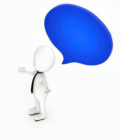3d white guy , hands widened -Speech bubble circular - 3d rendering Stockfoto