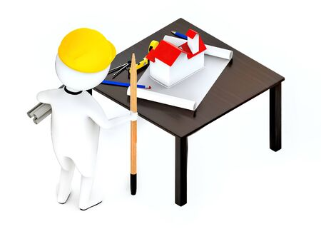 3d white guy , wearing hard helmet holding drafts and a pencil , architect , engineer -table with house draft divider measurement tape - 3d rendering Stock Photo - 129447621
