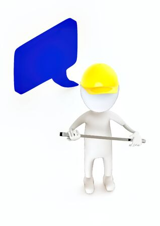 3d white guy , wear safety helmet and hold wrench -Speech bubble curved edge rectanglular - 3d rendering