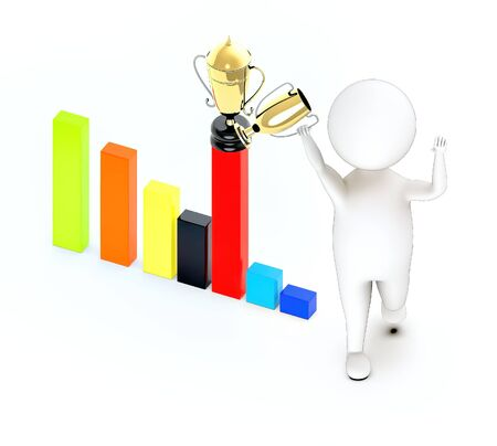 3d white guy , walk with holding golden trophy -bar graph and trophy on top of it - 3d rendering