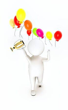 3d white guy , walk with holding golden trophy -flying balloons - 3d rendering