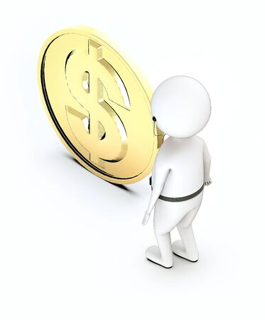 3d white guy , listen to music with in ear headphone -dollar sign gold coin - 3d rendering Фото со стока