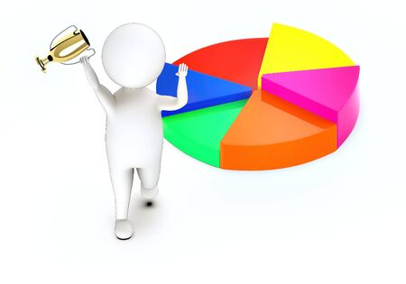 3d white guy , walk with holding golden trophy -pie chart - 3d rendering