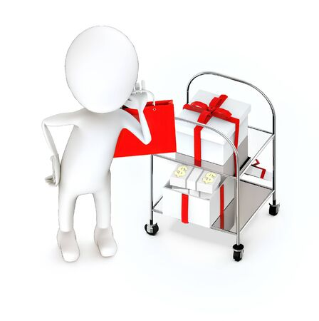 3d white guy , holding a shopping bag -Trolley with gift box two - 3d rendering