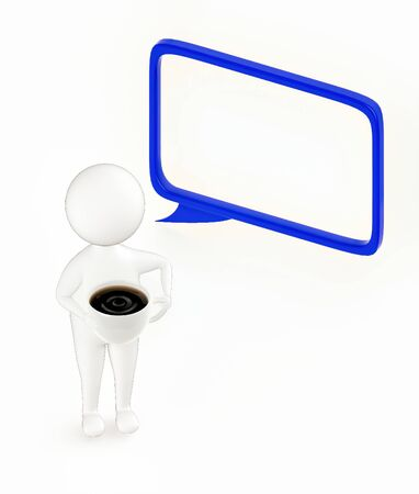 3d white guy , holding cup of coffee -hollow speech bubble - 3d rendering