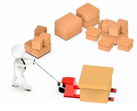 3d white guy , moving a pallet , unloader truck -stack of cardboard boxes - 3d rendering Banco de Imagens