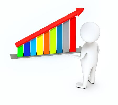 3d white guy , standing next to -bar graph and arrow over it - 3d rendering Foto de archivo - 129447830