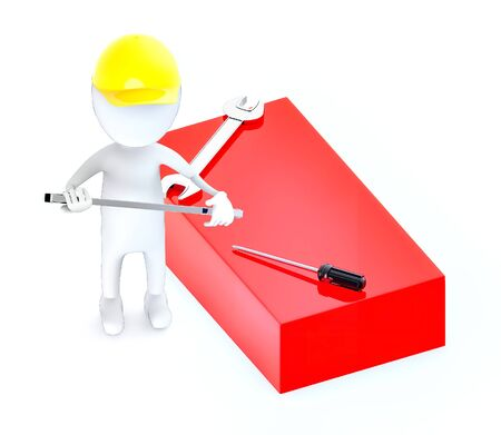 3d white guy , wear safety helmet and hold wrench -Red Box Wrench Screwdriver - 3d rendering