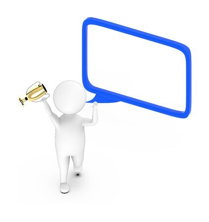 3d white guy , walk with holding golden trophy -hollow speech bubble - 3d rendering