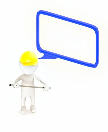 3d white guy , wear safety helmet and hold wrench -hollow speech bubble - 3d rendering