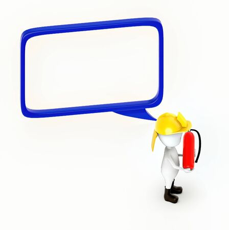 3d white guy , fire fighter with fire extiguisher -hollow speech bubble - 3d rendering