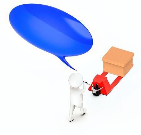 3d white guy , moving a pallet , unloader truck -Speech bubble circular - 3d rendering