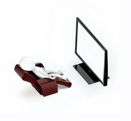 3d white guy , sitting on a sofa chair -television monitor flat - 3d rendering