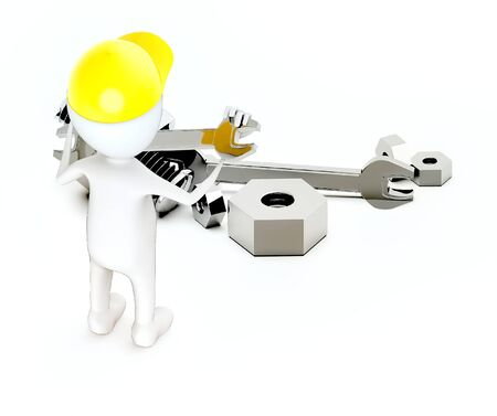 3d white guy , wear safety helmet and hold wrench -Nuts bolts wrench - 3d rendering