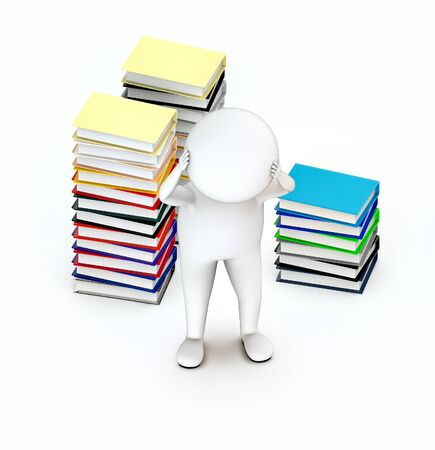 3d white guy , hands on head stressed worry -stack of file folders - 3d rendering Фото со стока