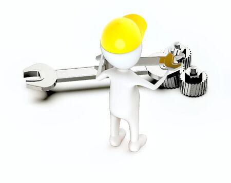 3d white guy , wear safety helmet and hold wrench - Stockfoto
