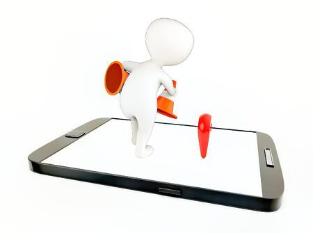 3d white guy , placing traffic cones -mobile phone and location sign - 3d rendering