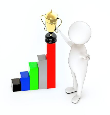 3d white guy stand and hands widened, bar graph and a golden trophy on top of it Фото со стока