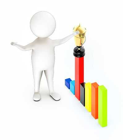 3d rendering white guy stand and hands widened with bar graph and a golden trophy on top of it. Stockfoto