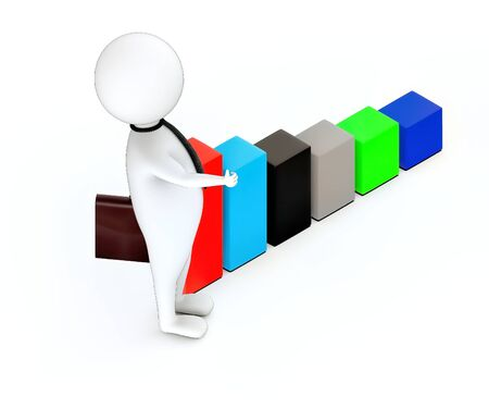 3d rendering white guy standing and hold briefcase showing thumbs up gesture increasing bar graph Stockfoto
